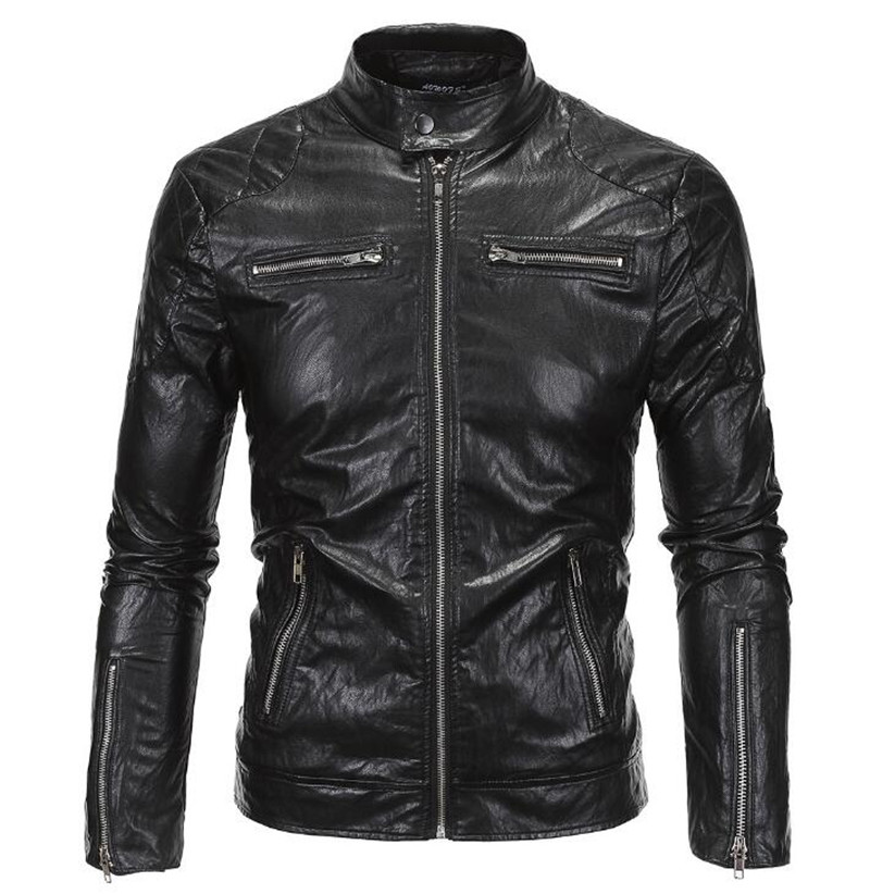 New Retro Mens Motorcycle Jacket PU Leathe Stand Collar Slim Fit Thin Lightweight Classic Biker Punk Moto Jacket Coat Size M 5XL in Jackets from Automobiles Motorcycles