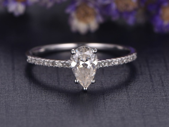 pin wedding band rings diamond with ring engagement classic shaped pear