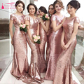 Rose Gold Sequins Bridesmaid Dresses Mermaid Long Sexy Short sleeve Wedding Guest Dresses vestido de festa longo rosa Z558