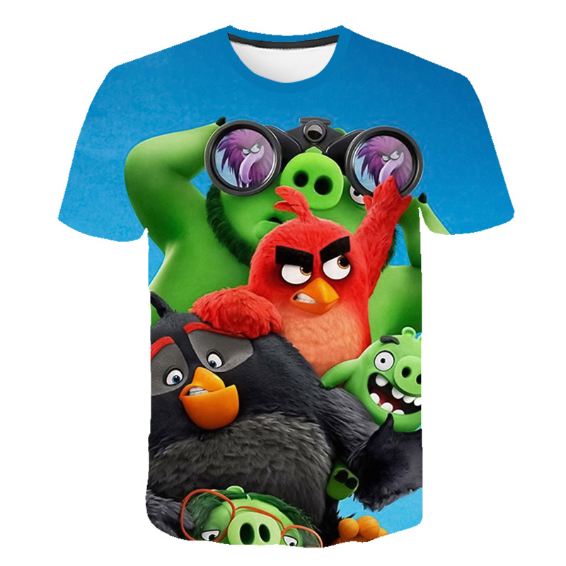 2019 nova chegada 3d impresso angry birds filme 2 t camisa estilo moda camiseta angry birds 2 streetwear meninos e meninas camisetas