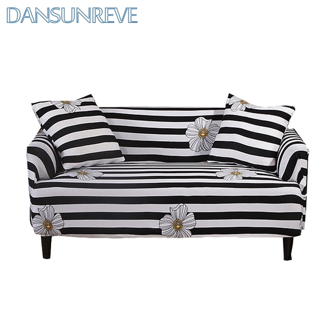 Great Black And White Stripes Sofa Cover Beautiful Flowers Printed Slipcover With  Elastic Band For Home Decoration