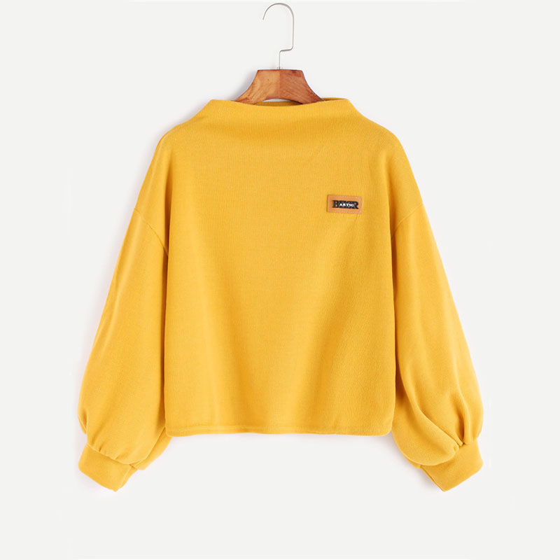 HTB1kw MSXXXXXXNaFXXq6xXFXXXK - Funnel Neck Sleeve Lighthouse Patch Sweat Shirt Autumn Yellow Jerseys Ladies' Neck Long Shirts JKP014