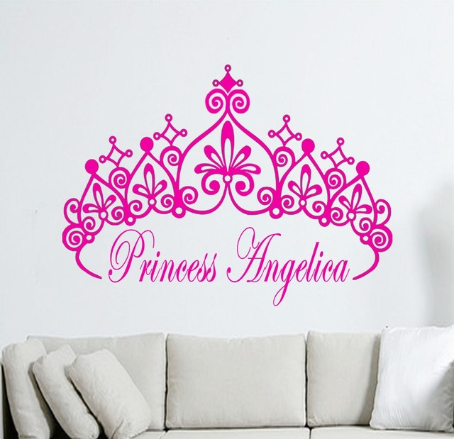 Customize Personalised Name Princess Crown Girls Name Stickers Vinyl Wall  Art Decals Kids Mural KW  Part 39