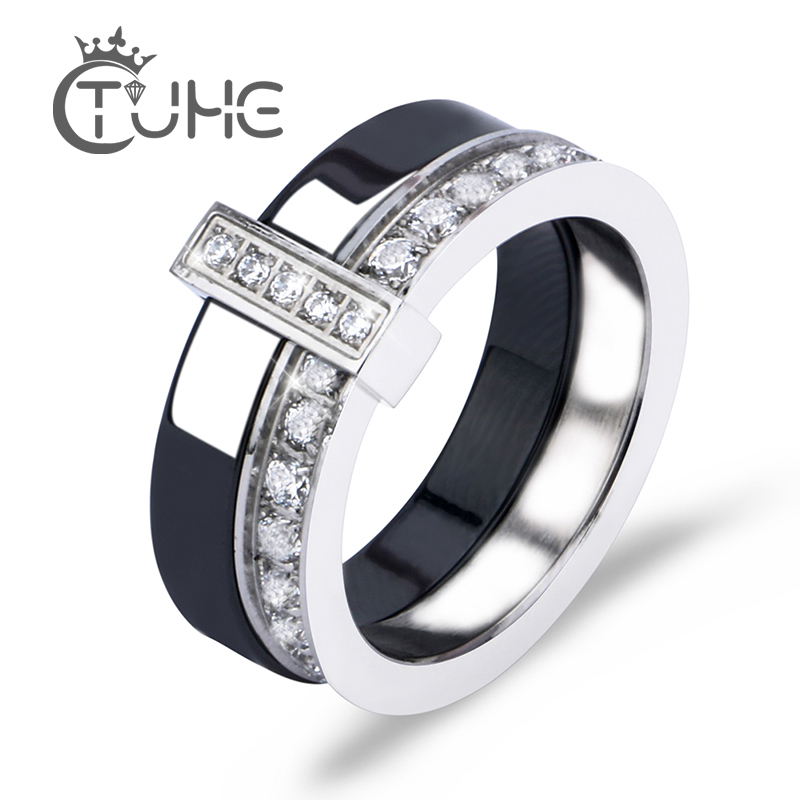 Black White Ceramic Ring With One Row Australia Zircon Two Layers Stainless Steel Silver Thin Engagement Rings For Women Jewelry Кольцо
