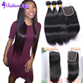 8A Ali Moda Hair Bundles Malaysian Virgin Hair with Closure Straight Malaysian Virgin Hair Weave Human Hair Bundles Lace Closure