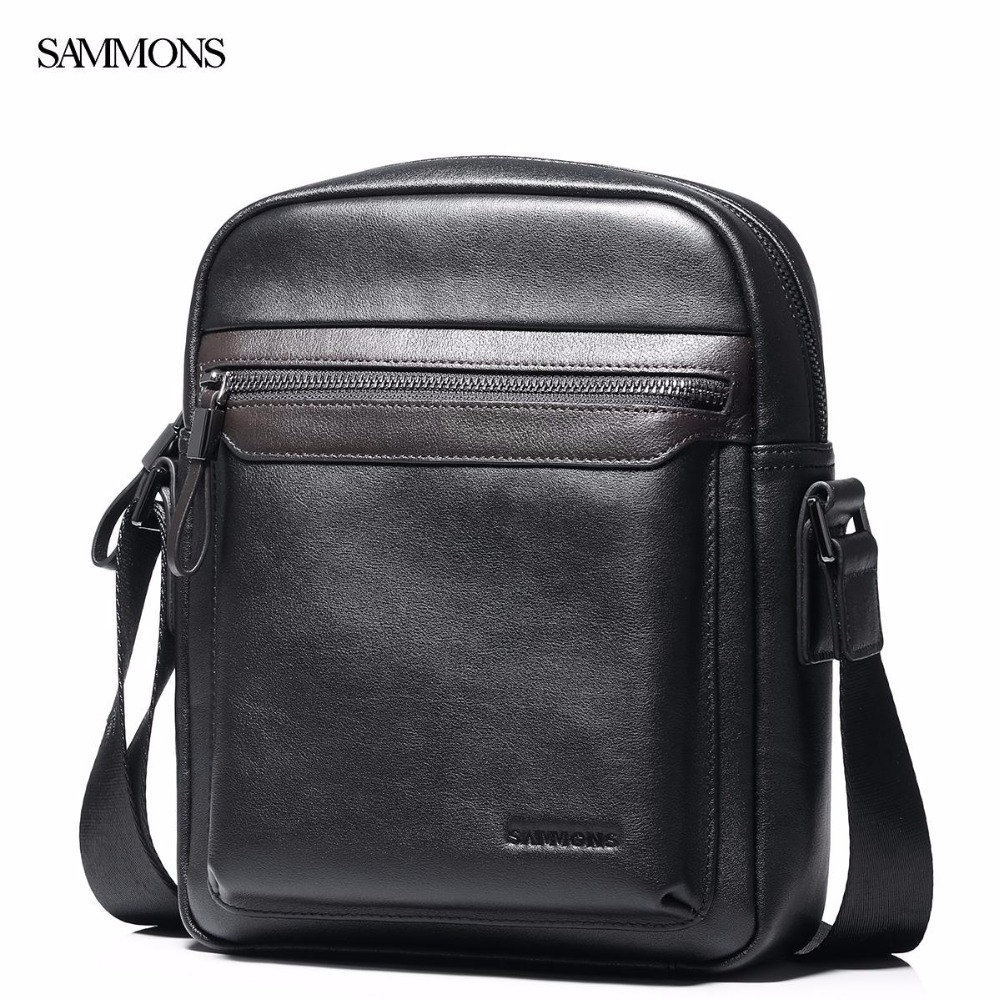 SAMMONS Brand New Design Fashion Casual Genuine Cow Leather Men Shoulder Bag Business Cross body Messenger Bags new casual business leather mens messenger bag hot sell famous brand design leather men bag vintage fashion mens cross body bag