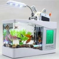 USB Mini Fish Tank Aquarium Turtle Small Goldfish Supplies Multi functional Acrylic Fish Tank With Music LED Clock Home Decor
