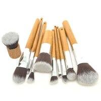 Hot Sale Beauty 10pcs Professional Natural Bamboo Handle Makeup Brush Set Tools Cosmetics Tools Kit Make