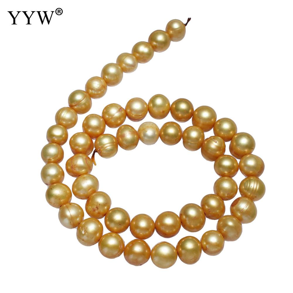 YYW – perles d'eau douce de culture de pommes de terre de haute qualité, jaunes, 10-11mm, environ 0.8mm, vendues par PC