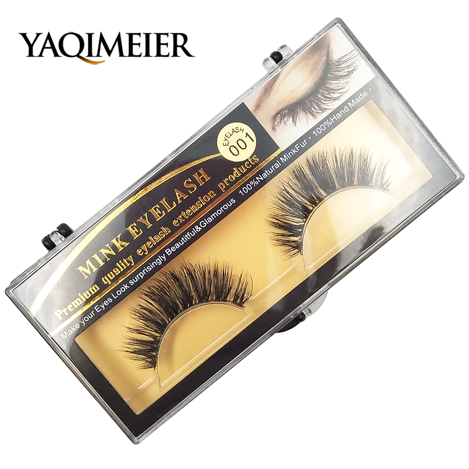 032145ef91a YAQIMEIER 1 Pairs Private Label Mink Lashes Korean Trendy Long/Thick/Volume  3D