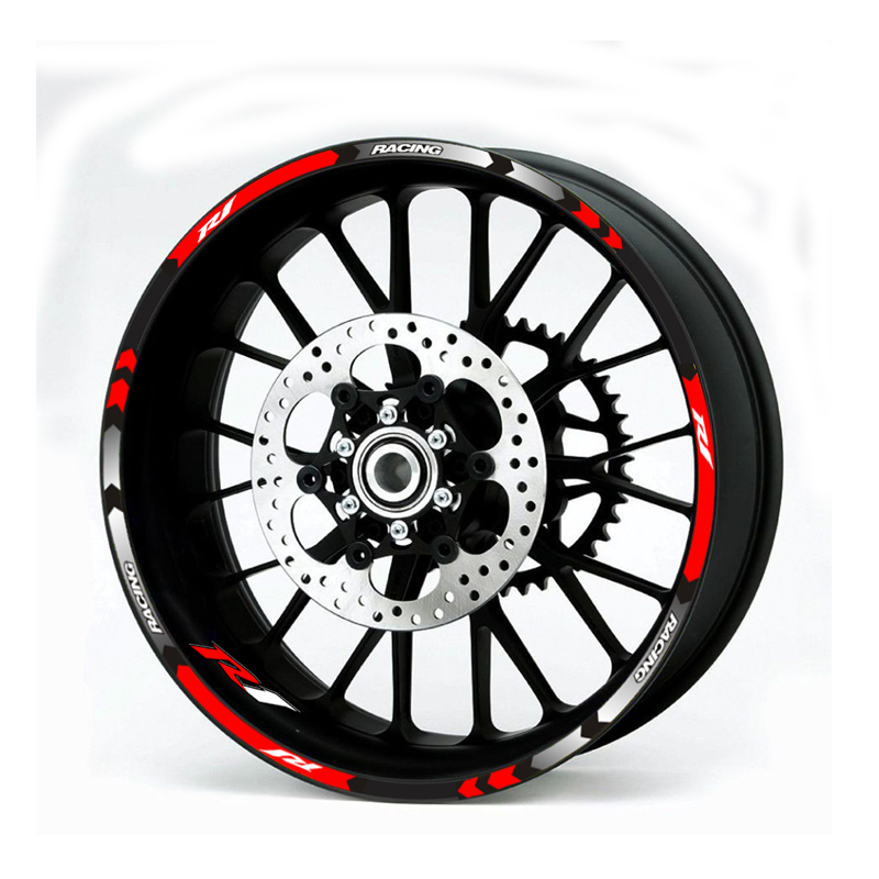 New High Quality 12 Pcs Fit Motorcycle Wheel Sticker Stripe Reflective  Rim For Yamaha YZF R1