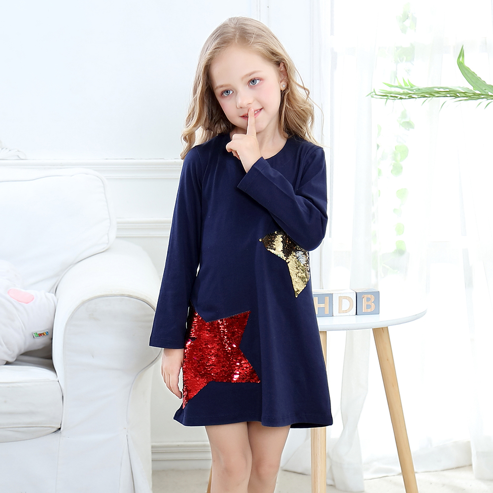 Toddler Dresses Girls Clothing 100% Cotton Long Sleeve Baby Girls Dress Tunic Jersey Princess Dress Costume for Kids Clothes