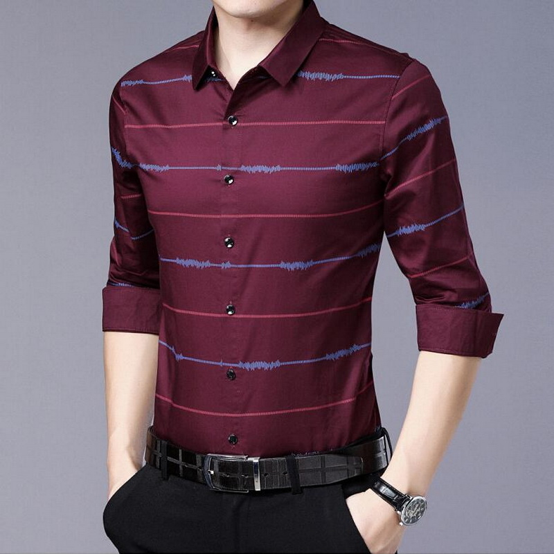 VXO 2019 Summer Brand Shirt Mens Stripe Workout Men Plaid Shirts Men Plaid Shirts Printed Slim Fit Male Dress Shirt 73515