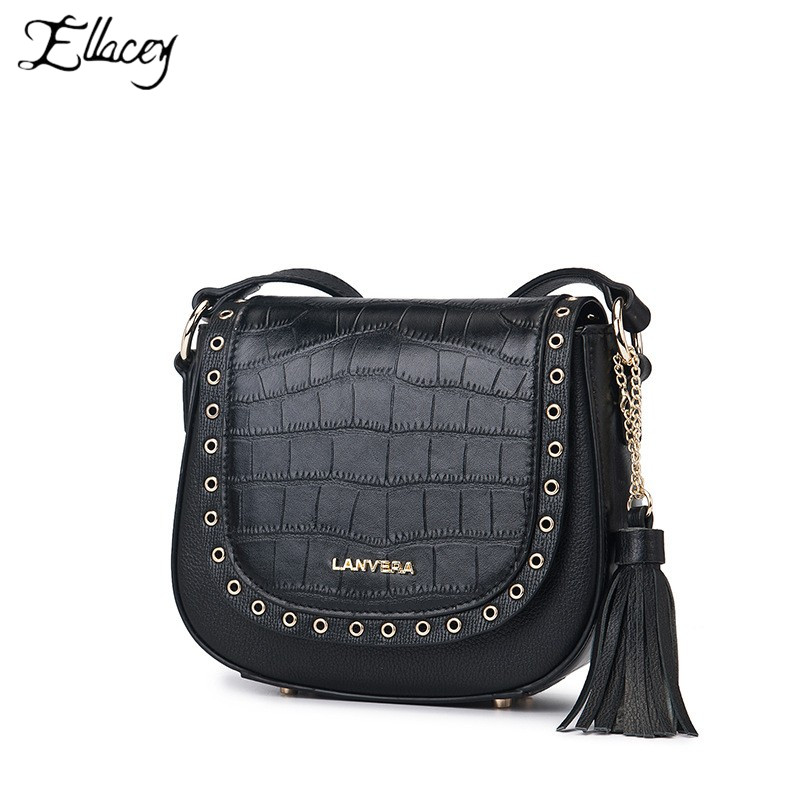 2019 New Fashion Ladies First Layer Leather Rivet Tassel Saddle Bag Trend Genuine Leather Letters Crossbody Bags For Women