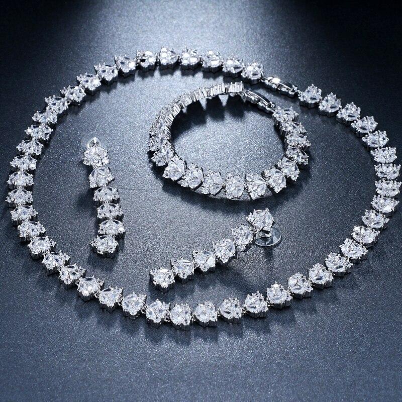 zircão pavimentado à mão 3 pçs conjunto de jóias de casamento