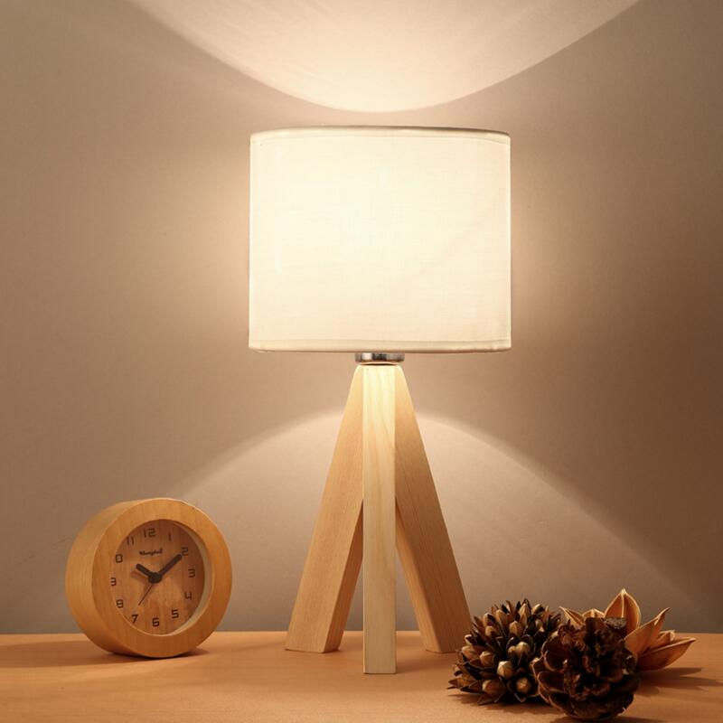 Creative real wood desk lamp bedroom lamp bedside lamp wooden LED the desk lamp shield an eye