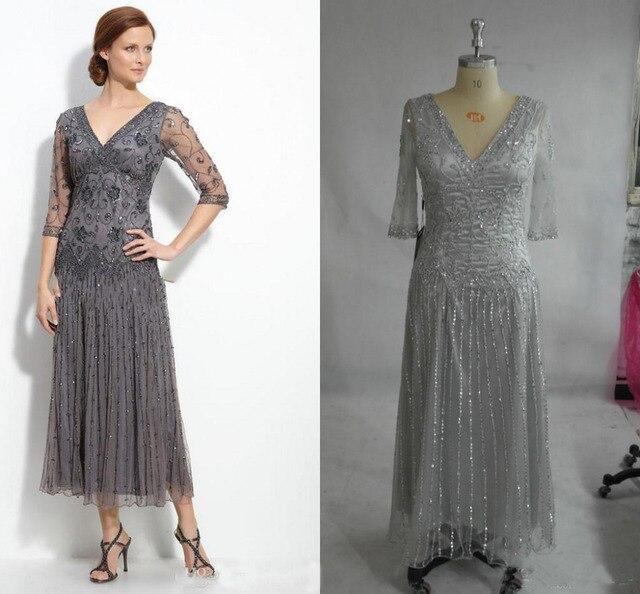 2016 Real Image Mother Of The Bride Dress Grey V Neck Half