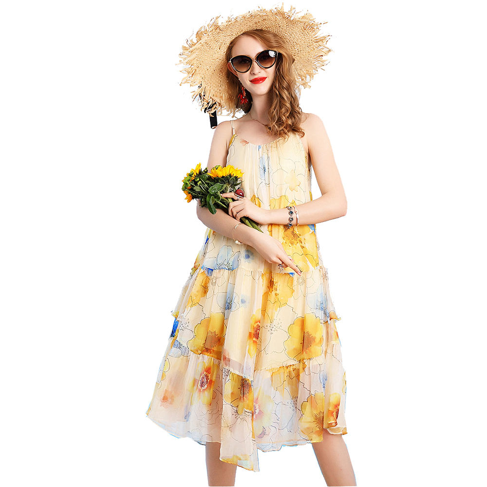 floral silk dress 2019 spring summer plus size beach casual bohemian long Georgette women dresses fairy yellow flower loose