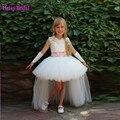 2016 Паффи Высокий Низкий Кружева Белый Цветок Девочки Платья Для 11 Лет Свадебные Платья Детские Вечерние Платья vestido infantil феста