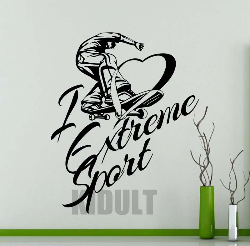 Creative Skateboarding Skateboard Sports Wall Decals People Wall Stickers Vinyl Stickers Home Decor Living Room Wall Painting