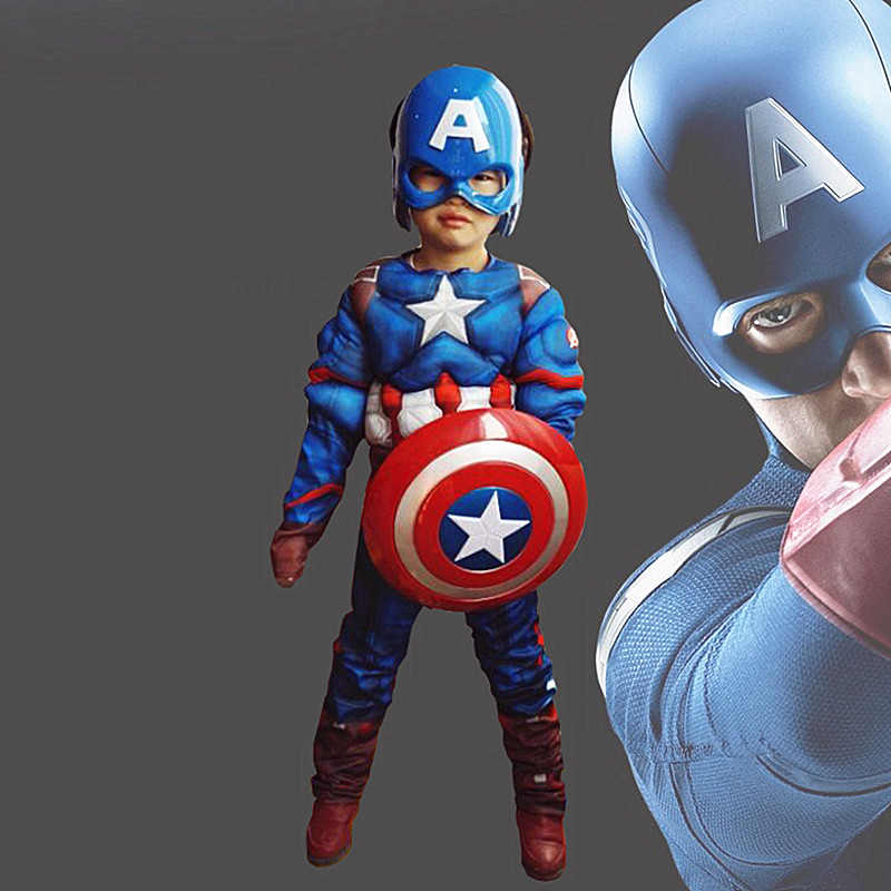 Kid Muscle Costume Cosplay Avengers Captain America Captain Tights Superhero Halloween Costume Boy Girl Accessories