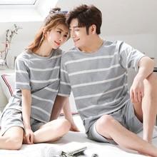 Couples coton pyjamas ensembles pour femmes 2019 été rayé Pyjama hommes vêtements de nuit Homewear salon vêtements femme pijama