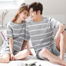 Paare Baumwolle Pyjamas Sets für Frauen 2019 Sommer Gestreiften Pyjama Männer Nachtwäsche Homewear Lounge Kleidung Weibliche pijama
