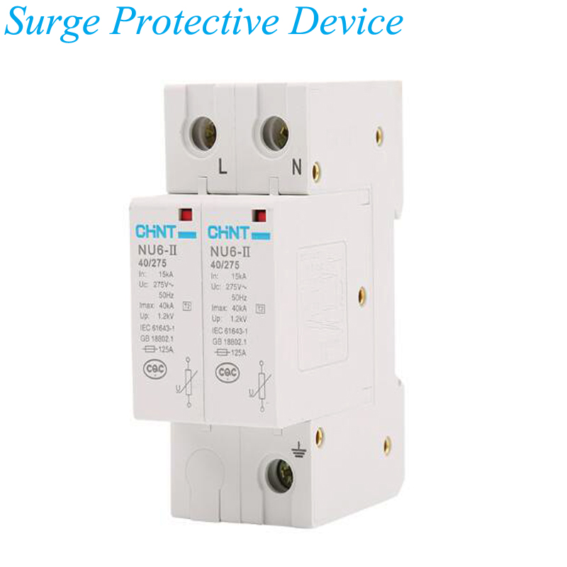 2P 15KA- 40KA/275V House Surge Protector Low-voltage Arrester Device IP20 Lightning Protection NU-6-II-2P2P 15KA- 40KA/275V House Surge Protector Low-voltage Arrester Device IP20 Lightning Protection NU-6-II-2P