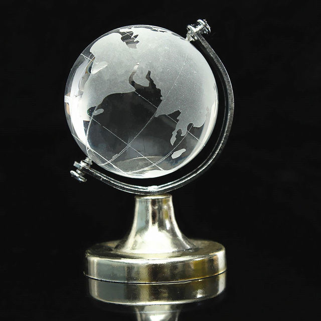HOT SALE Crystal Glass Frosted World Globe Stand Paperweight Home Desk Wedding Decorate 2