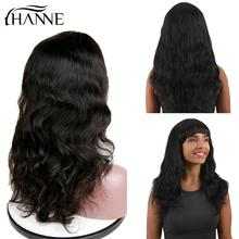 HANNE Hair Brazilian Human Wigs Natural Wave Remy Wig With Bangs Black Color for Women