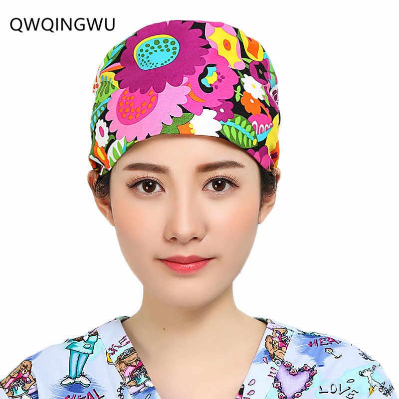 6defbd03bd5 Doctor Surgical Scrub Cap Flower Print Dome Scrub Hat Surgical Caps for Doctor  Nurse Cap Scrub