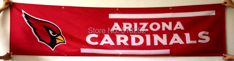 Arizona Cardinals Banner 2x8FT 60x240CM NFL Flag 100D Polyester grommets Custom6038,free shipping