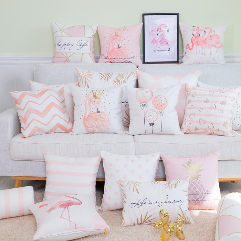 Drop Ship Decor Pink Flamingo Cushion Girl Pineapple Balloon Feather Geometry Stripe Nordic Pillow Fundas De Cojines Almohadones