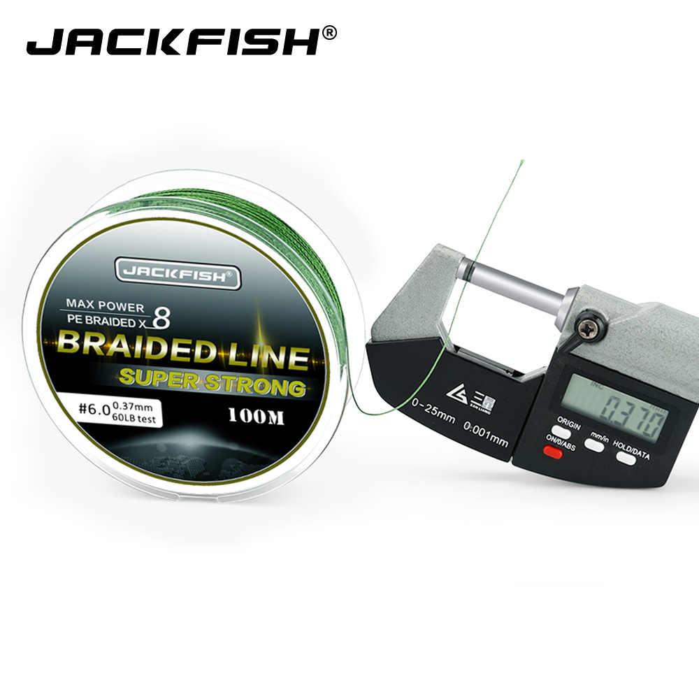 JACKFISH 100 メートル 8 ストランド PE 編組釣り糸 10-80LB マルチフィラメント釣り糸鯉海水釣り