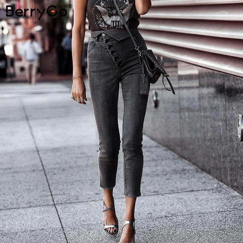 BerryGo Sexy Skinny Denim Jeans Women Streetwear High Waist Buttons Fold Capris Pants Summer Fashion Female Gray Pencil Jeans