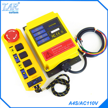 Radio Remote Control A4S/AC110V industrial remote control hoist crane push button switch f21 2s dc24v 2 channels control hoist crane radio remote control system industrial remote control battery