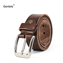 crazy horse cowhide leather belt genuine for men brown color pin buckle jeans strap vintage cinto belts
