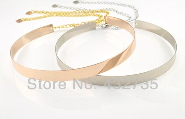 Al por menor recién llegado 2014 Cintos mujeres del Metal del oro llena placa de espejo la correa de cintura delgada con gancho hebilla de la cadena de cintura para mujer