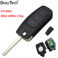 OkeyTech Replacement 3 Buttons Flip Folding Remote Control Key 433MHz 4D63 Chip For Ford Mondeo Focus