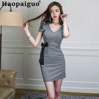 Plus Size Print Plaid Wrap Mini Dress Club Wear for Ladies Deep V neck Corset Ladies Dresses with Bow Sheath Korean Party Dress