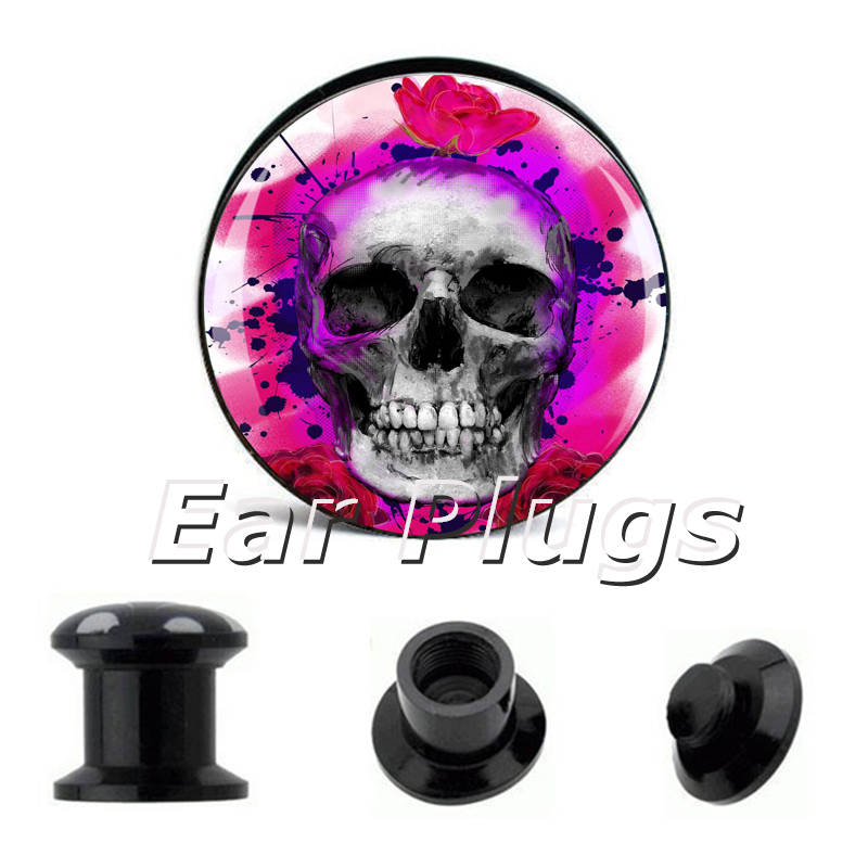1 pair tiedye skull ear plug gauges tunnel acrylic screw flesh tunnel body piercing jewelry PAP005