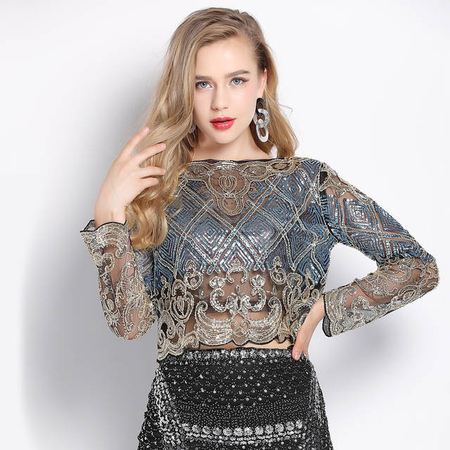 placeholder 2018 Bling Sheer Body Crop Top Blusas Feminina Lace Mesh Long  Sleeve Floral Embroidery Sequin Beading 613c5cef9c05