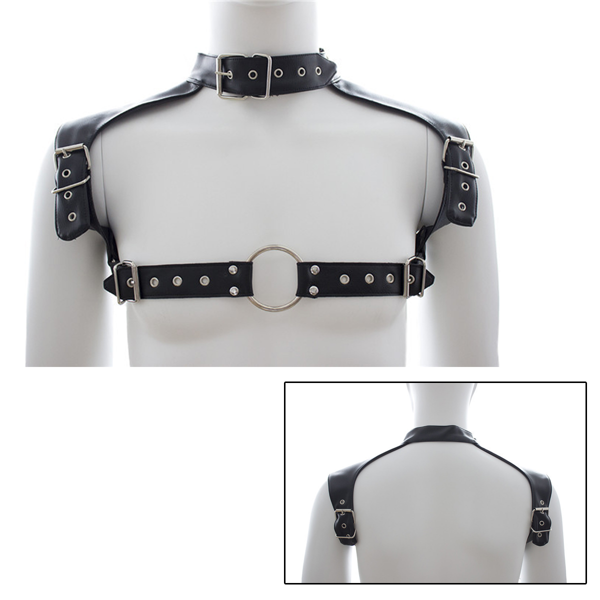 Mens Pu Leather Chastity Belt Neck Collar Adjustable Buckles Body Chest Harness Straps Fetish BDSM Bondage Sexy Lingerie Costume