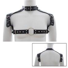 Mens Pu Leather Chastity Belt Neck Collar Adjustable Buckles Body Chest Harness Straps Fetish BDSM Bondage Sexy Lingerie Costume