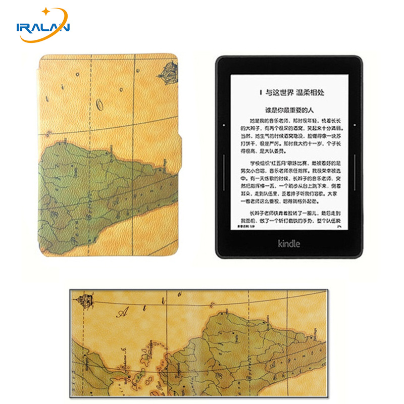 Hot Ultra-slim Map pattern Case for Amazon Kindle 8th 2016 6 generation Ebook PU Leather Cover free shipping+stylus+screen film marble pattern ebook case for amazon new