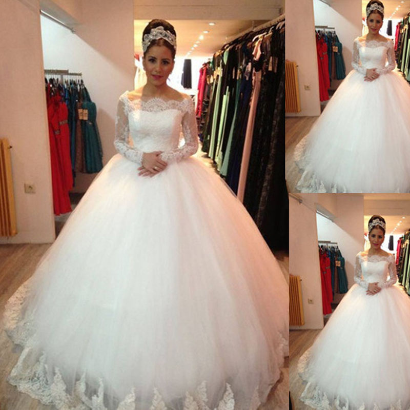 White Wedding Gown Styles: 2017 Country Style White Lace Muslim Wedding Dresses