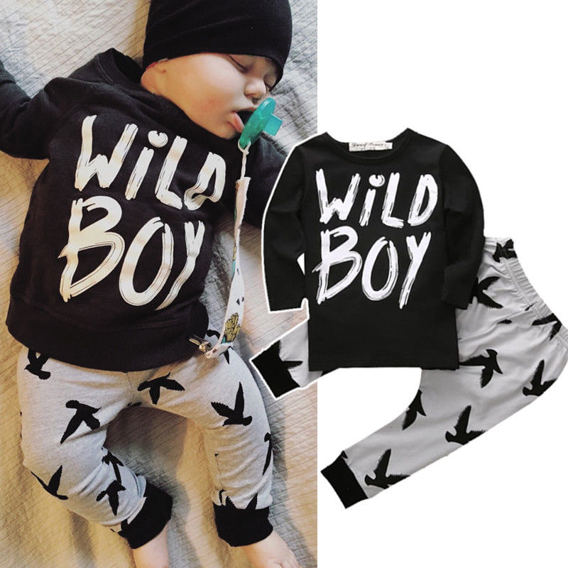 2pcs niño recién nacido niño infantil del bebé ropa del bebé T-shirt Tops + Pants Outfits Set