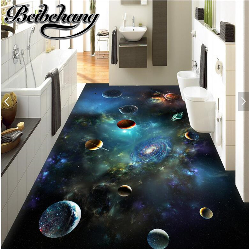beibehang Room living room custom in accordance with the width of the waterproof put oil universe sky solar system planet 3D the custom of the country