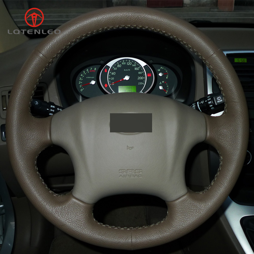 LQTENLEO Dark Brown Genuine Leather DIY Hand stitched Steering Wheel Cover for Hyundai Tucson 2006 2014