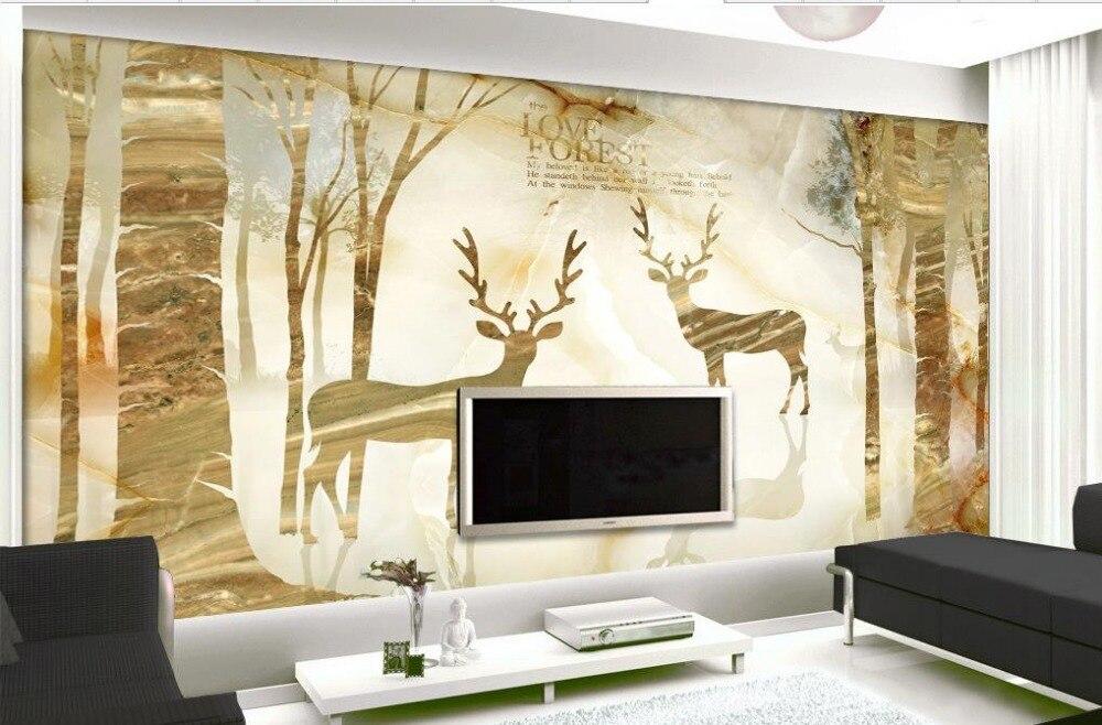 ΞMarmer elanden goud moderne eenvoudige europese mode 3d behang ...